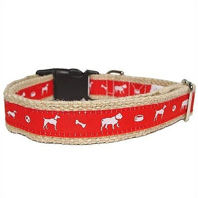 Vintage Jute Dog Collar Size: Large, Color: Green