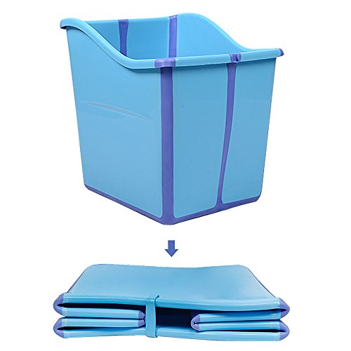 Large Foldable Toddlers Bath Tub for Baby Enable Water to Chest Deep Bubble Bath ()