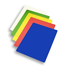 MIU Flexible Cutting Board, Set of 5 4 5-pack of flexible plastic cutting boards, 15 by 11 inches Color-coded for use with different types of food. Blue, Red, Yellow, Green, and White. Protects countertops and helps prevent cross-contamination