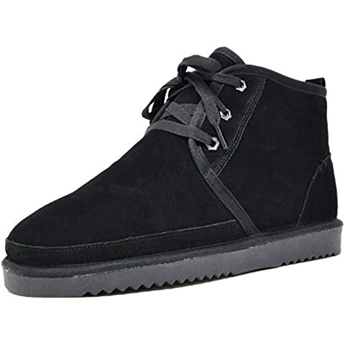 DREAM PAIRS Men's Suede Sheepskin Fur Winter Boots House Shoes Slippers
