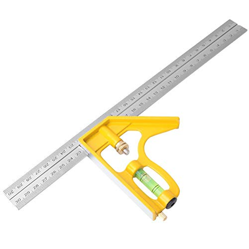 300mm Combination Angle Ruler, Stainless Steel Adjustable Combination Square Angle Ruler 90 Degree Woodworking Measuring Tool