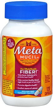 Metamucil MultiHealth Daily Fiber Supplement + Calcium, Capsules 120 ea (Pack of 2) - Metamucil Multihealth Fiber