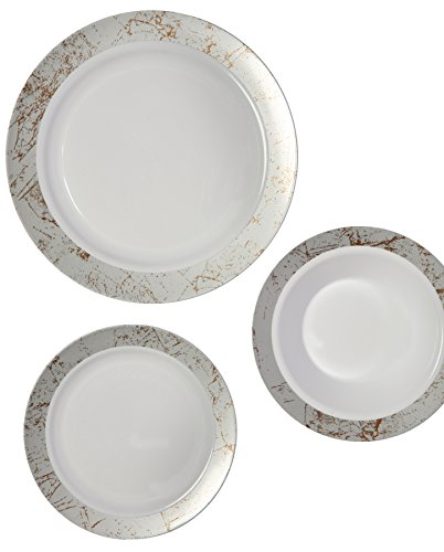 Party Joy 75-Piece Plastic Dinnerware Set | Marble Collection | (25) Dinner Plates, (25) Salad Plates  & (25) Bowls| Heavy Duty Premium Plastic Plates for Wedding, Parties, Camping & More (Silver) (Set Dinner Marble)