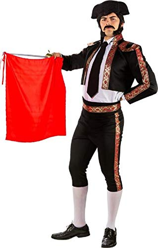 Mens Deluxe Black Matador Spanish Bull Fighter International Around The World Carnival Fancy Dress Costume Outfit (Large (EU 50/52))]()