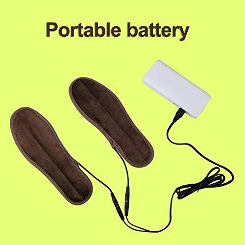 Marr/ón Oscuro 1 Par S/úper Suave Terciopelo Calentamiento USB Plantillas de Calentamiento Calentador de Calor El/éctrico de Calzado de Invierno Almohadillas Amortiguadores Zapatos Accesorios 39-40