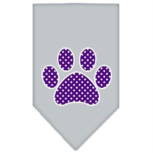 Mirage Pet Products Purple Swiss Dot Paw Screen Print Bandana for Pets, Large, Grey (Swiss Screen)