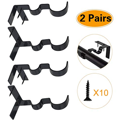 2 Pairs Curtain Rod Brackets Set Double Curtain Rod Holders Easy No Drilling Tap Right into Window Frame for Rods Window Bedroom Decoration- Adjustable Curtain Rod Brackets (Black)
