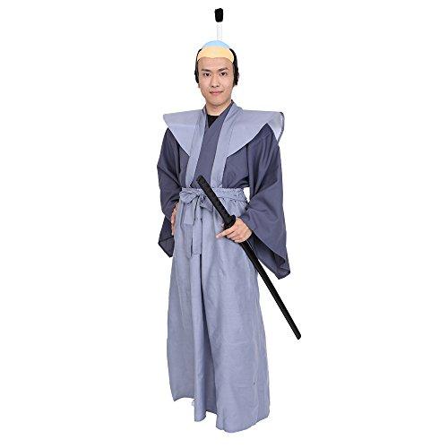 PATYMO Japanese Governor Samurai Costume, Gray, Men's Standard Size