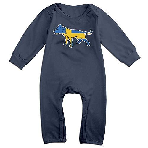 TYLER DEAN Toddler Baby Boy Girl Long Sleeve Jumpsuit Pit Bull Swedish Flag Infant Long Sleeve Romper Jumpsuit Navy -