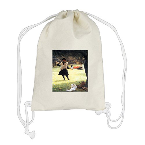 Cricket (Tissot) Cotton Canvas Backpack Drawstring Bag Sack by Style in Print