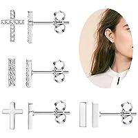 Besteel 4 Pairs Stainless Steel Stud Earrings for Men Women CZ Cross Flat Bar Earring Set