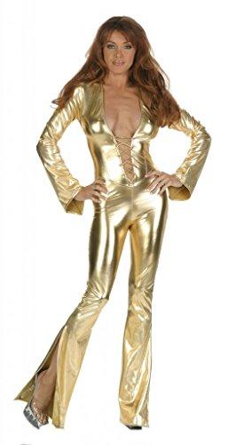 Nom de Plume Women's Sexy RockStar Elvis Jumpsuit Costume Medium Gold