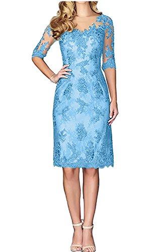 Partykleider Knielang Spitze Brautmutterkleider Damen Charmant Festlichkleider Blau Langarm Ballkleider Abendkleider C8Y6Zq