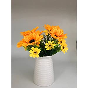 """Ieoyoubei 2 PCS Bouquet of Artificial Silk Flower Sunflower 12"""" Bouquet and Green Leaf for Home Decoration Bridal Wedding Festival Decoration Small Flower (Yellow-Orange) 6"""