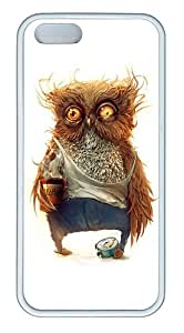 Coffee Deprived Owl Funny Custom TPU Case Cover for Apple iPhone 5S and iPhone 5 White