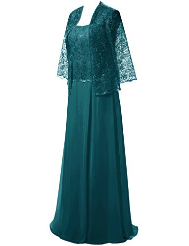 JAEDEN Lace of Jacket The Gown Green Evening Pieces Two Mother with Birde Party Chiffon Dress Dark for Wedding rdw40Edx