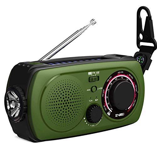 Emergency Weather Radio with Solar and Crank Charger -(2018 New Radio) NOAA Weather Radio with 2200mAh Emergency Cell Phone Power Bank, Glare Flashlight,SOS Help Flashing Lights and Compass(Green).