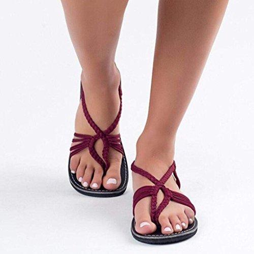 Minetom Donna Romani Scarpe Eleganti Spiaggia Nylon Intrecciati Peep Rosso Toe Boemia Casual Piatte Estiva Sandali Moda rrqw6dO