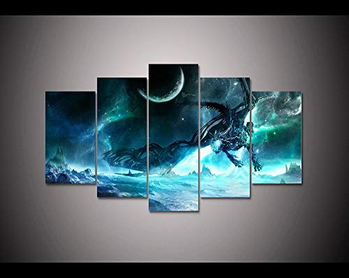 FidgetGear Video Game 5 Panel HD Printed Canvas Painting World of Warcraft Poster Modern Medium No Frame