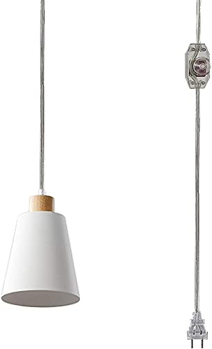 STGLIGHTING Hanging Swag Lamp no Wiring Needed Wooden Handle Pendant Light