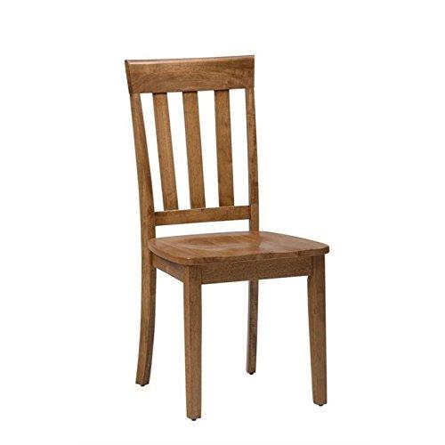 Jofran Simplicity Wood Slat Back Dining Chair in Honey (Set of 2)