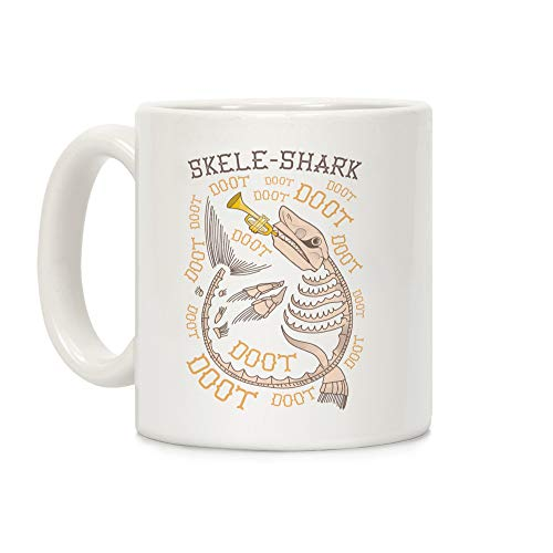 (LookHUMAN Skele-Shark White 11 Ounce Ceramic Coffee)