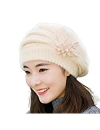 Mapletop Womens Flower Knit Crochet Beanie Hat Winter Warm Cap Beret