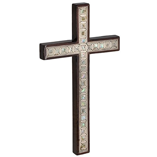 Leolana Handmade Wall Cross inlaid with Mother of Pearl (11.5 Inch – 29.2cm)