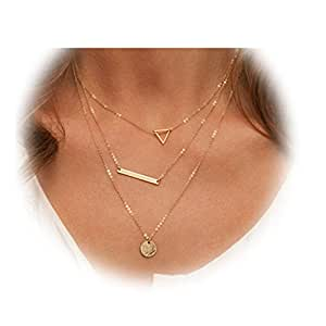 Zealmer Disc Bar Triangle Pendant Necklace Gold Tone 3 Layers For Women