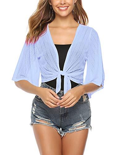- iClosam Women Tie Front Chiffon Shrug Short Sleeve Cropped Sheer Bolero Shrug Cardigan