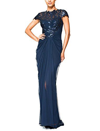 Tadashi Shoji Sequined Lace Draped Tulle Evening Gown Dress