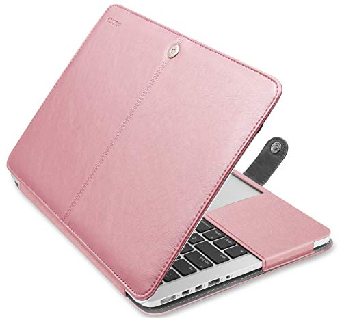 MOSISO Case Compatible with MacBook Pro 13 Inch with Retina Display (A1502 / A1425, Version 2015/2014/2013/end 2012), Premium PU Leather Book Folio Protective Stand Cover Sleeve, Rose Gold