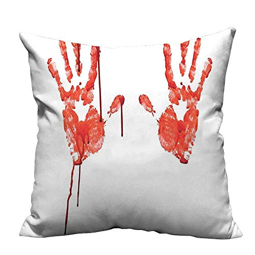 (YouXianHome Sofa Waist Cushion Cover Like Wanting Help Halloween Horror Scary Spooky Flowing Blood Themed Print Red White Decorative for Kids Adults(Double-Sided Printing) 17.5x17.5)