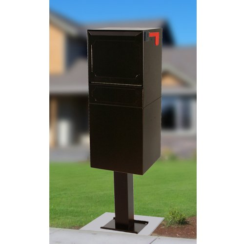 dVault Parcel Protector Vault DVU0050 Locking Mailbox with Top Mount Above Ground Post Included (Black) ()