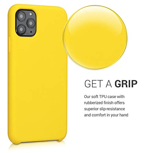 kwmobile TPU Silicone Case Compatible with Apple iPhone 11 Pro Max - Soft Flexible Rubber Protective Cover - Vibrant Yellow
