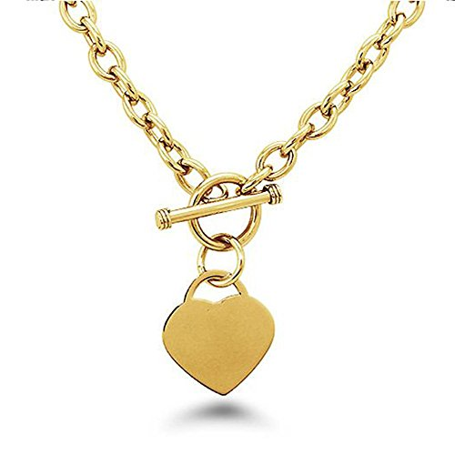 Noureda High Polished Gold Plated Noureda Stainless Steel Heart Charm Cable Chain Necklace with Toggle Clasp (Length: 18