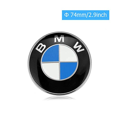 BMW Emblems Hood and Trunk, BMW Emblem Logo Replacement 74mm for ALL Models BMW E30 E36 E46 E34 E39 E60 E65 E38 X3 X5 X6 3 4 5 6 7 8 (74mm)