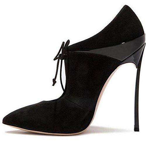 Pompes Stylet Chaussures Talons NVXIE 35 Traverser Pied Intelligent de Fermé Taille Doigt Sexy BLACK Strappy EUR40UK7 Femmes Haute Pointu Suède Travail 42 Robe wqEwr6Xpn