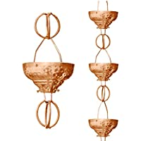 Monarch Pure Copper Eastern Hammered Cup Rain Chain, 8-1/2-Feet Length