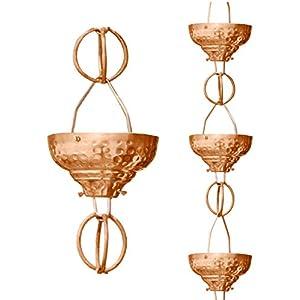 Monarch Rain Chains 29027 Pure Copper Eastern Hammered Cup Rain Chain, 8.5 ft
