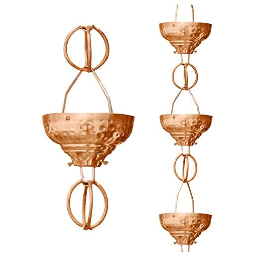 Monarch Pure Copper Eastern Hammered Cup Rain Chain, 8-1/2-Feet Length