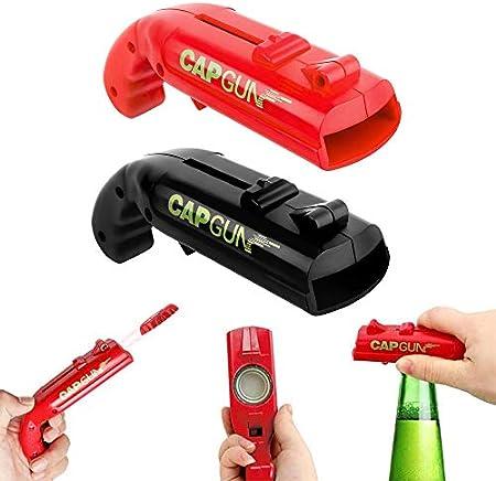 2 Piezas Abridores de Tapas de Botella de Pistola de Tapa, Abrebotellas En Forma de Pistola, Lanzador Abridor de Botellas, para El Juego de Beber de Fiesta En El Bar En Casa (Negro y Rojo)
