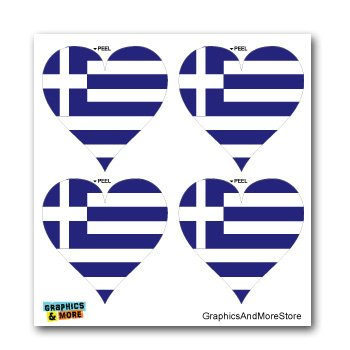 - Greece Greek Flag Heart - Set of 4 - Window Bumper Laptop Stickers
