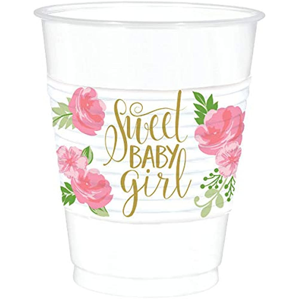 Luncheon Napkins Dinner Plates Floral Baby Party Supplies Pack for 16 Guests: Straws and Cups