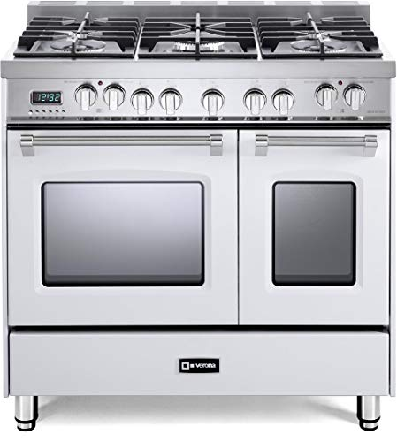Verona Prestige Series VPFSGE365DW 36 inch. Dual Fuel Range 5 Sealed Burners Double Oven Convection Storage Drawer White