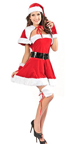 IF FEEL Womens Velvet Miss Santa Sexy Christmas Adult Costume (one size, (Mr Grinch Costume)