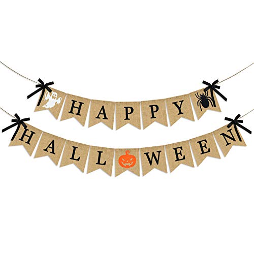 Cute Diy Halloween Decorations (Happy Halloween Burlap Banner | Halloween Mantel Banner | Halloween Banner Indoor Outdoor | Halloween Banner Decoration | Halloween Decor for Mantle Fireplace Home Office | Halloween Party Decorations)
