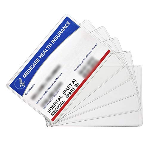 Waterproof Business Cards - New Medicare Card Holder Protector Sleeves, 12Mil Clear PVC Soft Waterproof Medicare Card Protector for New Medicare Card Credit Card Business Card, Heavy Duty Card Sleeves (6 Pack)