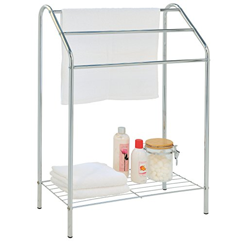 - MyGift Freestanding 3 Tier Metal Towel Rack, Chrome Bathroom Towel Bar, Silver-Tone
