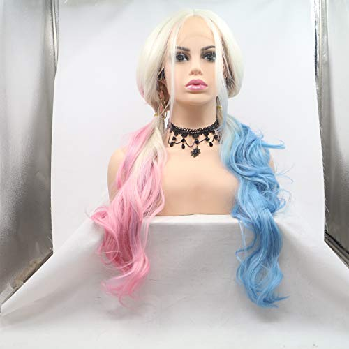 FESHFEN Natural Front Lace Wigs Big Loose Wave Pink/Blue Blonde Ombre Synthetic Lace Front Wig Long Wavy Halloween COSPLAY Wig For Girls With Bangs 26 Inches ()